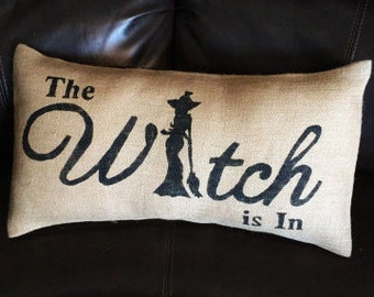 Witch Pillow, Rustic Home Decor, Witch Halloween, Burlap Pillow, Halloween Decor, Home Decor, Hostess Gift, Accent Pillow, Rustic Decor