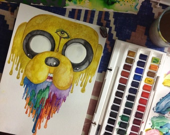 Jake the Dog from Adventure Time A4 Trippy Drippy Watercolour Portrait Print