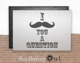 I mustache you a question funny wedding card will you be my groomsman best man bachelor party gift