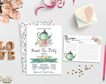 Bridal Tea Party Invitation Printable Bridal Shower Invitation Tea Pot Bridal Shower Invite Watercolor Bridal Brunch Invites DIY or Printed
