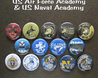 "US Service Academies 1 1/4"" Pin-back Button -- Single Button or Complete Set"