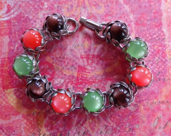 Vintage Bracelet Small Wrist Size Moonglow Brown Orange Green Silver Tone