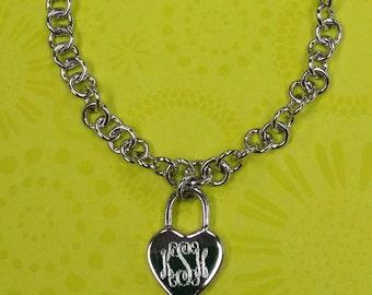 Silver Heart Link Bracelet, Silver Heart Monogramed Link Bracelet