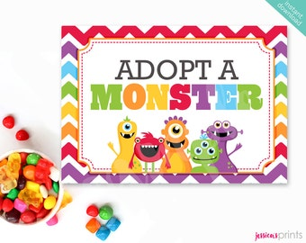 Instant Download Adopt a Monster Printable Party Sign, Monster Adoption Certificate, Monsters Party Printable, Monster Mongrels Party Sign