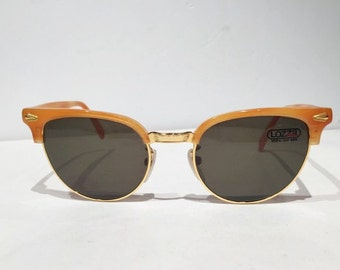 Vintage 1980s Lozza New Old Stock Cat Eye Sunglasses, Light Amber Large 52/20 Cateye Sunglasses, Wayfarer Style Sunglasses, NOS, Rockabilly