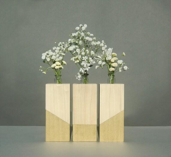 Centerpiece wood vase set minimalist bud vases modern home for Wood vases for centerpieces