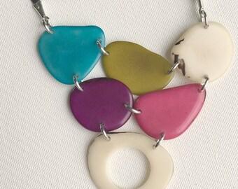 Multi color statement  necklace - Unique handcrafted jewelry - Bib statement necklace- tagua jewelry