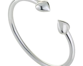 Sterling Silver Bracelet, silver heart bracelet, heart bracelet, heart cuff bracelet, handmade bracelet, Womens Silver Bracelet