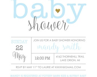 Baby Shower Invitations - Blue OR Pink - Baby Elephant - Customized