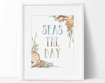Seashell art, Seas The Day, Blue Art, Beach Art, Beach House Decor, Beach Wall Art, Bathroom Art, Beach Decor Printable, Sea Art, Ocean Art.