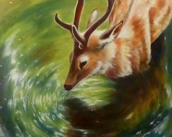"Mirrored - Various Print Sizes - Original Acrylic Painting of a Deer creating water ripples - 20""x 16"""