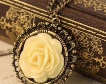 Antique Bronze Vintage-Style Cream Rose Pendant with Necklace; Sweater Necklace; Filigree Details