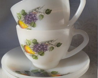 French Arcopal 1970s Fruits de France cups and saucers
