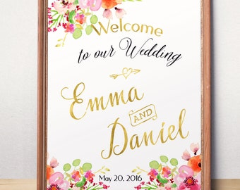 Wedding Sign Printable Personalized Wedding Welcome sign Custom Wedding Sign Welcome to our wedding Rustic floral wedding sign printable