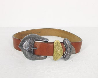 vintage brown leather belt, wide southwestern belt with silver and gold tone buckle - womens XS - S / 23 to 27 inches