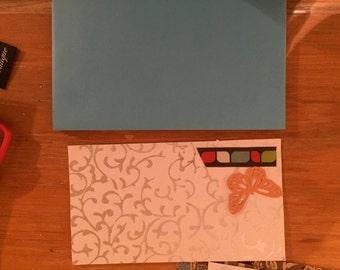 notecards brown blue orange silver butterflies