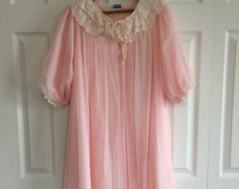 pink chiffon negligee vintage 70 single size