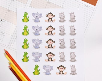 20 Jungle Stickers for Box, Baby Shower Stickers, Jungle Planner Stickers, Jungle Decor, Jungle Erin Planner Stickers