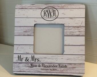 Mr. & Mrs. Monogram Picture Frame, Wedding Gift, Monogram Picture Frame, Personalized  Picture Frame, Rustic Frame, Wedding Picture Frame,