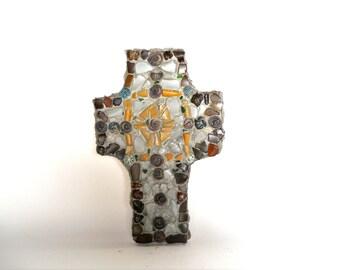 "Mosaic cross,  beach glass mosaic,  smelty art,    handmade ceramic pieces, 10""x7"" (27x18cm)"