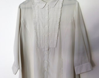 Vintage 1990s Cream Beige Button-Down Stitched Pleat Ruffle Bib Collared Shirt Blouse with Gathered Back
