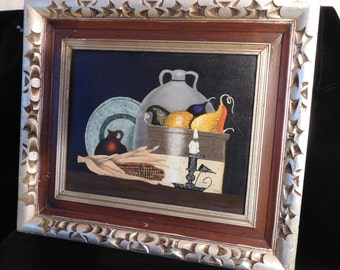 Still Life painting in fancy frame-- Naive acrylic signed BOM