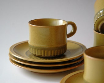 Japanese stoneware cup and saucer set of four