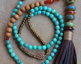 Sandalwood Leather Fringe Tassel, Reddish-Orange Onyx, Boho jewelry, Boho chic, Boho long necklace, Turquoise, Statement Necklace