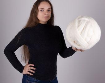 Chunky yarn, Merino wool roving, Big yarn, Wool yarn, Merino wool yarn, Giant yarn, Super bulky yarn, Merino wool, Super chunky yarn, Roving