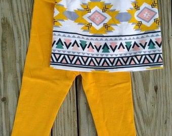 Aztec/Mustard Infant Skirt and Leggings