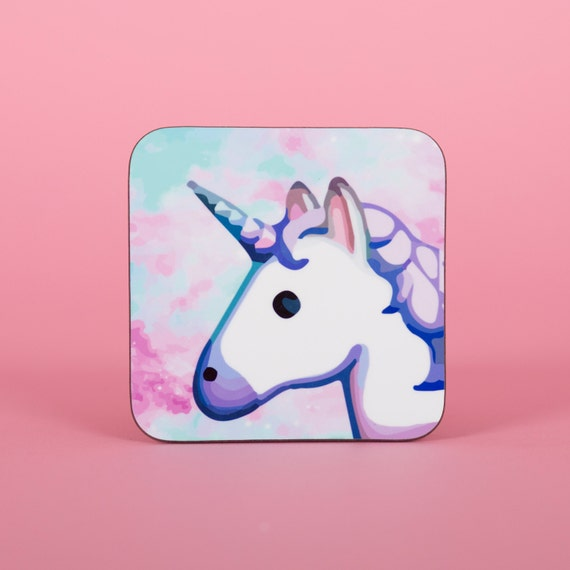 Cute Unicorn Emoji space rainbow coaster - Cute coaster 2S002