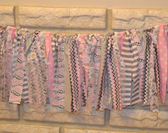 Pink, Grey & White Fabric Banner