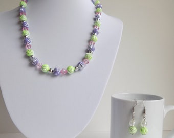 Unique beaded necklace and earrings set