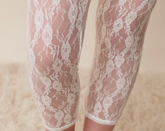 Medium- Girls Lace Leggings in White, Easter Dress accessory