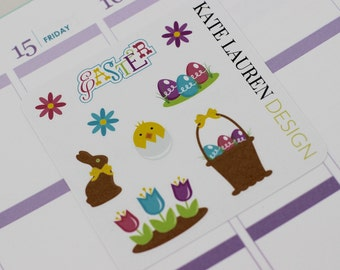 Easter Planner Stickers for Erin Condren Life Planner, Happy Planner, Filofax, kikki.K, Plum Paper Planner Stickers