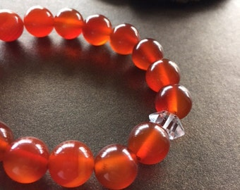 Carnelian and Herkimer Diamond Bracelet