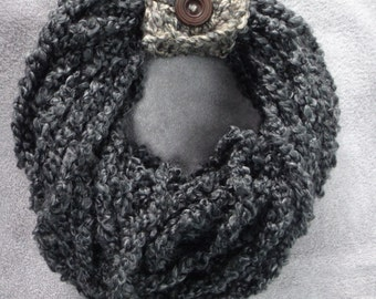 Handmade Crocheted Dark Heather Grey Infinity Scarf/Womens/girls/medium/feminine/modern/sophisticated/Christmas/gift for her/warm/colorful