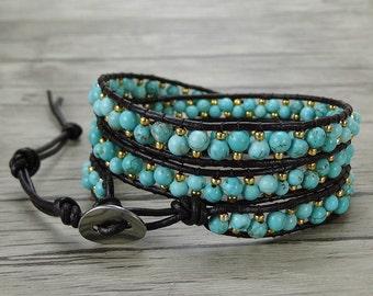 Turquoise wrap bracelet BOHO bead wrap bracelet bead leather bracelet leather wrap bacelet gypsy bead bracelet stack bracelet SL-0395