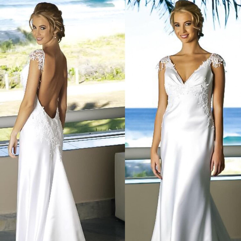 Low back beach wedding dress v neck backless wedding by for Beach wedding dress low back