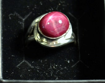 Stunning 12.08 carat STAR RUBY silver ring size 8