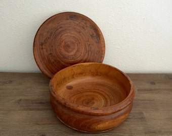 Hand Turned Wood Bowl with Lid; Primitive Wood Bowl; Hand Turned Wooden Bowl; Vintage Wood Bowl; Wood Bowl with Lid; Handmade Wood Bowl