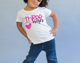Threenager - Birthday Shirt - Birthday Girl - 3rd Birthday Shirt - Three Year Old - Birthday Gift- 3rd Birthday Outfit