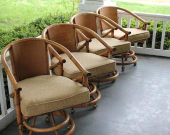 Awesome 4 Vintage Bamboo Barrel Chairs With Swivel And Rollers, Vintage Barrel Back  Chair, Retro