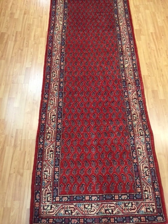 "3'7"" x 10'6"" Persian Sarab Floor Runner Oriental Rug - Hand made - 100% Wool - 1980s - Vintage"