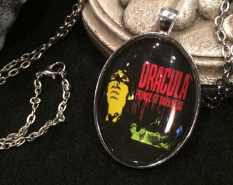 Classic 1966 horror classic movie poster Dracula Prince of Darkness Christopher Lee Bronze or Silver Pendant Necklace Hammer Films Horror