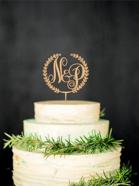 wooden wedding cake toppers wooden monogram cake topper custom initial by 1488