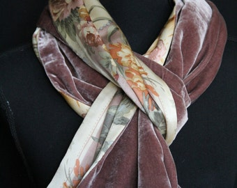 Silk velvet & silk satin double sided scarf in soft pinky beige, cream, yellow and pale green