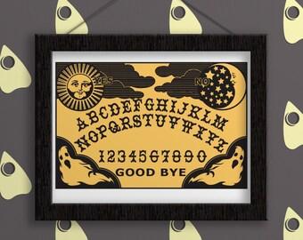 Ouija Board - Print. Occult. Spirit Board. Halloween. Witchcraft. Planchette. Wall Art. Wall Decor. Digital Print. Wall Hanging. Gift.
