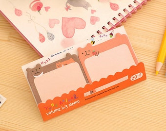 Bear Sticky Notes - Cute Kawaii Post-It Notes / Stationery / Stationary / School Supplies / Memo Pad / Yuru Animal / Volume Big Memo