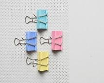 4 Candy-colored Binder Clip Bulldog Clip Foldback Clip Metal Clip pink mint green yellow blue
